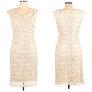 Connected Apparel Lace Scoop Bodycon Ivory Size 10